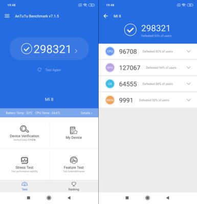 Výkon Xiaomi Mi 8 v AnTuTu