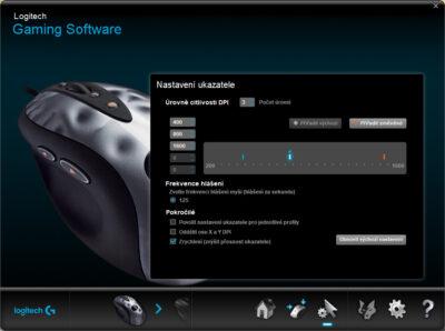 Citlivost (DPI) a frekvence hlášení Logitech MX518 (2005) v programu Logitech Gaming Software