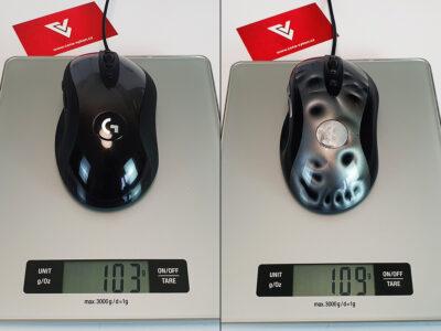 Hmotnost MX518 (2019) vs. MX518 (2005)