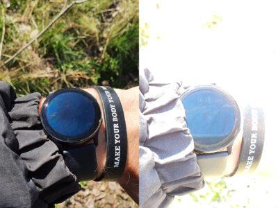 Always On Displej hodinek Samsung Galaxy Watch Active2 na slunci